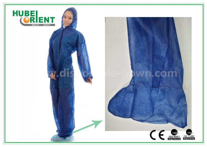 Disposable Non woven long sleeve coveralls With Elastic Wrists and Ankles , Size custom
