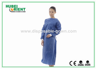 China Eco Friendly Waterproof Disposable Surgical Gowns with Knitted Wrist supplier