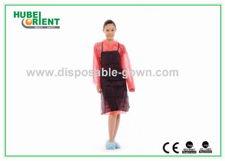 Black Soft Nonwoven Disposable Plastic Aprons For Adults Bibs