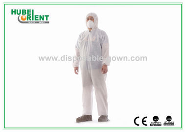 China Dust Proof Breathable White Disposable Coveralls with Hood / Feetcover supplier