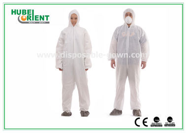 China Type 5 / 6 Disposable Coveralls with Hood Splash Proof SMS Chemical Coveralls supplier