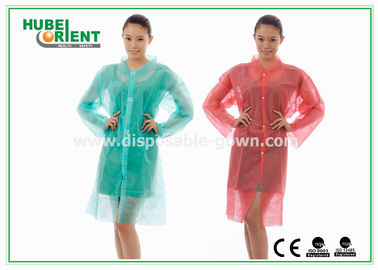 China PP & MP & TVK Disposable Laboratory Coats With Velcro And Shirt Collar supplier