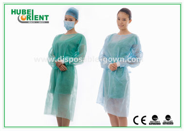 Non Irritating PP PE Disposable Medical Isolation Gown With Elastic Wrist