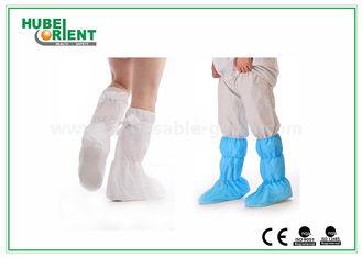 Nonwoven Surgical Medical Boot Covers , Non Slip Waterproof Shoe Covers For Cleaning Room