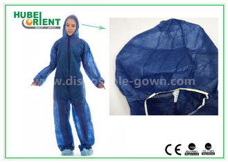 China Disposable Non woven long sleeve coveralls With Elastic Wrists and Ankles , Size custom supplier