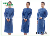 China Nonwoven SMS Blue disposable hospital scrubs with Elastic and Knit cuff factory