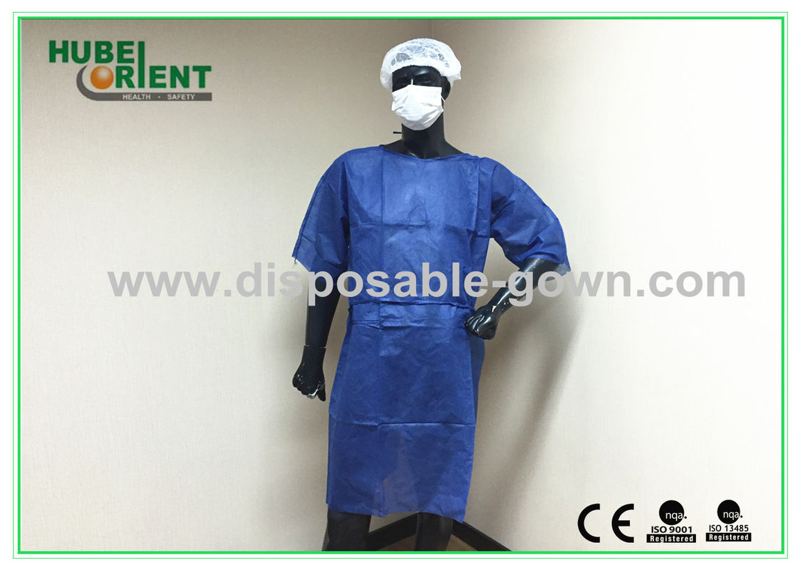 Dark Blue Disposable Isolation Gowns / Disposable Dress In Hospital