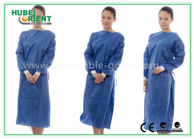 China Nonwoven SMS Blue disposable hospital scrubs with Elastic and Knit cuff distributor