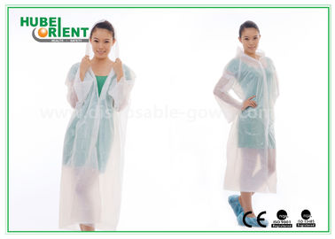 China Waterproof PE Disposable Protective Gowns , Transparent Disposable Poncho Raincoat distributor