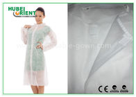 Economical SMS Nonwoven Disposable Lab Coats with Knitted Collar and Velcro