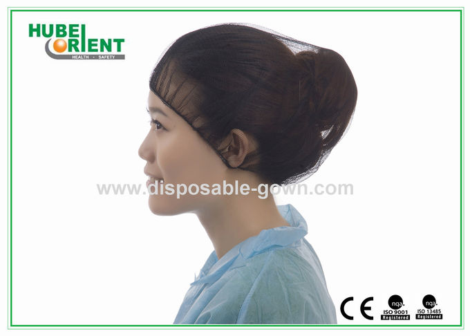 Nylon Mesh Disposable Head Cap Round Snood medical hair net with Elastic