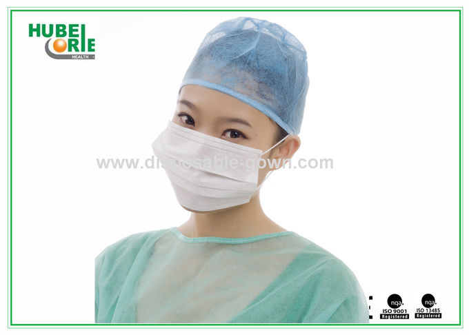 Ply 3 Surgical Blue Disposable Nonwoven Face With Mask Earloop Green