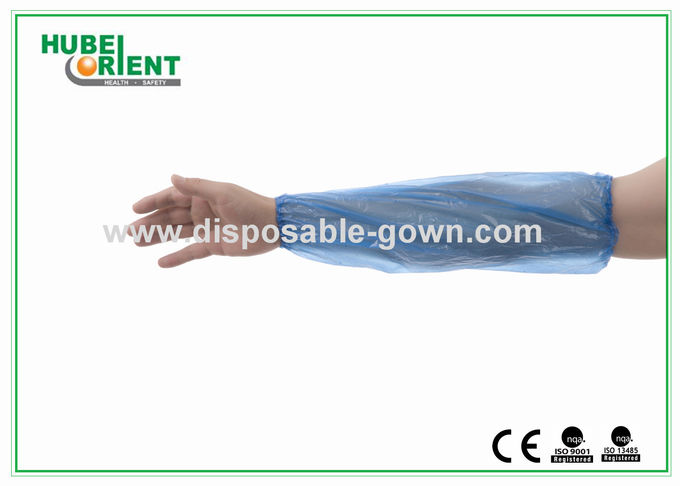 Yellow / Blue PE Disposable Arm Sleeves 16 Inch for Food Industry